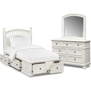 Hanover Youth 5-Piece Twin Poster Storage Bedroom Set with Dresser and Mirror - White