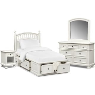 Hanover Youth 6-Piece Twin Poster Storage Bedroom Set with Nightstand, Dresser and Mirror - White