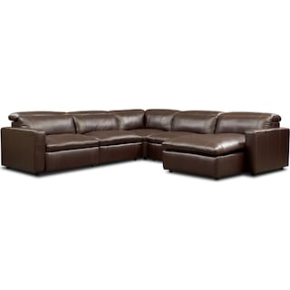 Happy 5-Piece Dual-Power Reclining Sectional with Right-Facing Chaise and 2 Reclining Seats - Brown