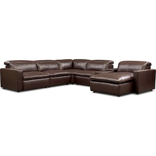 Happy 6-Piece Dual-Power Reclining Sectional with Right-Facing Chaise and 2 Reclining Seats - Brown