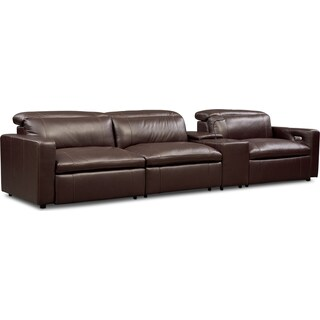 Happy 4-Piece Dual-Power Reclining Sofa with Console - Brown