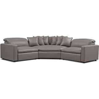 Happy 3-Piece Dual-Power Reclining Sectional with 2 Reclining Seats and Cuddler - Gray