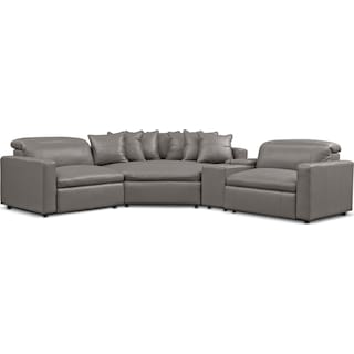 Happy 4-Piece Dual-Power Reclining Sectional with 2 Reclining Seats and Cuddler - Gray