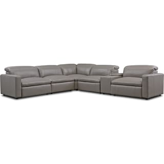 Happy 6-Piece Dual-Power Reclining Sectional with 3 Reclining Seats - Gray