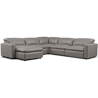 Happy 5-Piece Dual Power Reclining Sectional with Left-Facing Chaise and 2 Reclining Seats - Gray