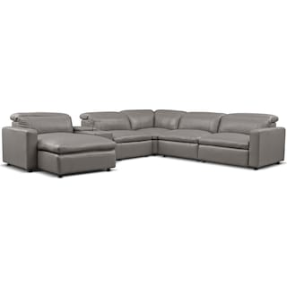 Happy 6-Piece Dual-Power Reclining Sectional with Left-Facing Chaise and 2 Reclining Seats - Gray