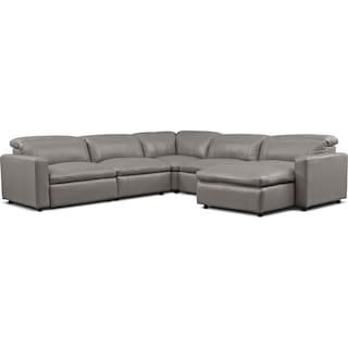 Happy 5-Piece Dual-Power Reclining Sectional with Right-Facing Chaise and 2 Reclining Seats - Gray