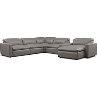 Happy 6-Piece Dual-Power Reclining Sectional with Right-Facing Chaise and 2 Reclining Seats - Gray