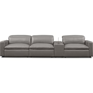 Happy 4-Piece Dual-Power Reclining Sofa with Console - Gray