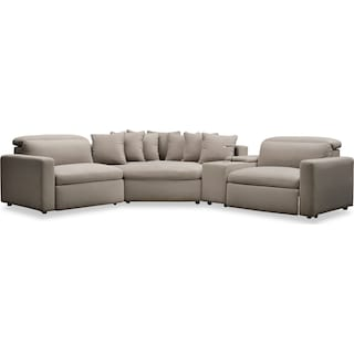 Happy 4-Piece Dual-Power Reclining Sectional with 2 Reclining Seats and Cuddler - Shitake