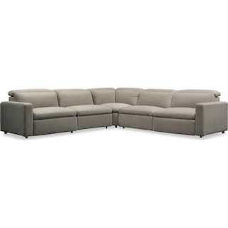 Happy 5-Piece Dual-Power Reclining Sectional with 3 Reclining Seats - Shitake