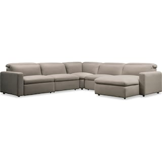 Happy 5-Piece Dual Power Reclining Sectional with Right-Facing Chaise and 2 Reclining Seats - Shitak