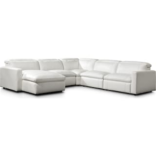 Happy 5-Piece Dual-Power Reclining Sectional with Left-Facing Chaise and 2 Reclining Seats - White