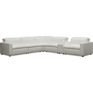 Happy 6-Piece Dual-Power Reclining Sectional with 3 Reclining Seats - White