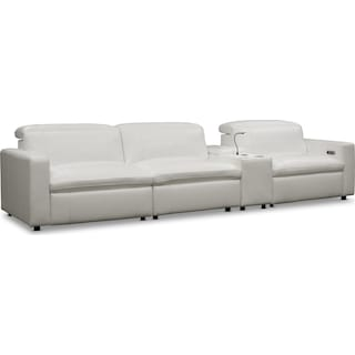 Happy 4-Piece Dual-Power Reclining Sofa with Console - White