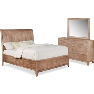 Hazel 5-Piece King Bedroom Set with Dresser and Mirror - Latte