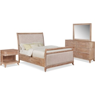 Hazel 6-Piece King Upholstered Bedroom Set with 1-Drawer Nightstand, Dresser and Mirror - Latte