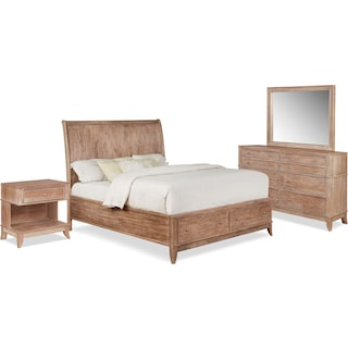 Hazel 6-Piece Queen Bedroom Set with 1-Drawer Nightstand, Dresser and Mirror - Latte