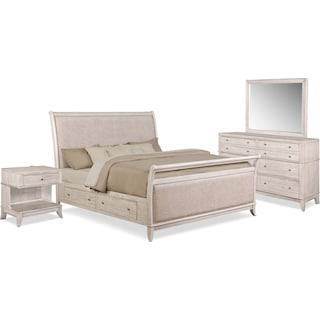 Hazel 6-Piece Queen Upholstered Bedroom Set with 1-Drawer Nightstand - Water White