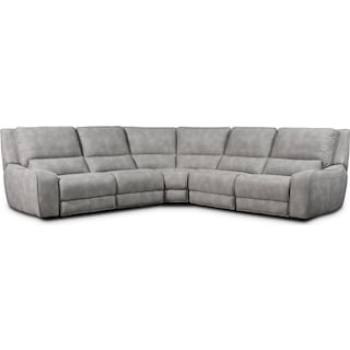 Holden 5-Piece Dual-Power Reclining Sectional with 3 Reclining Seats - Stone