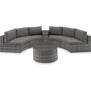 Huntington 3-Piece Outdoor Sectional and Coffee Table Set - Gray