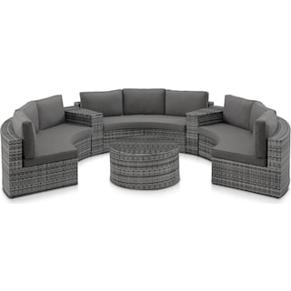 Huntington 5-Piece Outdoor Sectional and Coffee Table Set - Gray
