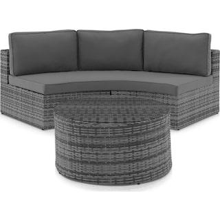 Huntington Outdoor Sofa and Coffee Table Set - Gray