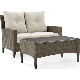 Huron Outdoor Loveseat and Coffee Table Set