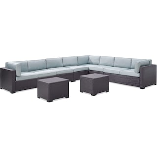 Isla 5-Piece Outdoor Sectional and 2 Coffee Tables Set - Mist