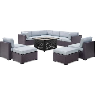 Isla 3-Piece Outdoor Sectional, 2 Armless Chairs, 2 Ottomans, and Fire Table - Mist