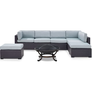 Isla 3-Piece Outdoor Sectional, Fire Pit and 2 Ottomans - Mist