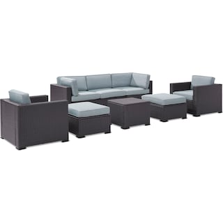 Isla 2-Piece Outdoor Sofa, 2 Armchairs, Coffee Table, 2 Ottomans - Mist