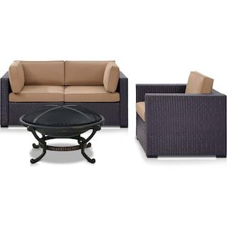 Isla Outdoor Loveseat, Chair and Fire Pit Set - Mocha