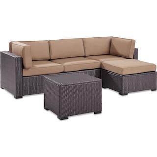 Isla 2-Piece Outdoor Sofa, Ottoman, and Coffee Table Set - Mocha