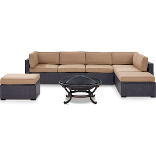 Isla 3-Piece Outdoor Sectional, Fire Pit and 2 Ottomans - Mocha