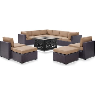 Isla 3-Piece Outdoor Sectional, 2 Armless Chairs, 2 Ottomans and Fire Table - Mocha