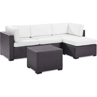 Isla 2-Piece Outdoor Sofa, Ottoman, and Coffee Table Set - White