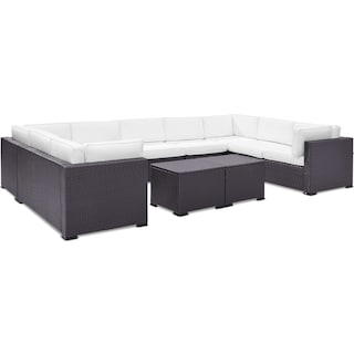 Isla 5-Piece Outdoor Sectional and 2 Coffee Tables - White