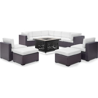 Isla 3-Piece Outdoor Sectional, 2 Armless Chairs, 2 Ottomans and Fire Table - White