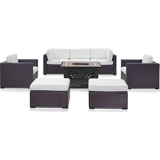 Isla Outdoor Sofa, 2 Armchairs, 2 Ottomans and Fire Table - White