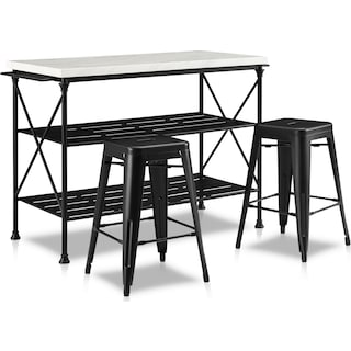 Izzy Kitchen Island and Set of 2 Stools