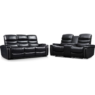 Jackson Triple-Power Reclining Sofa and Loveseat Set - Black