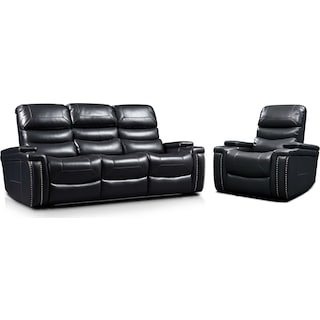Jackson Triple-Power Reclining Sofa and Recliner Set - Black