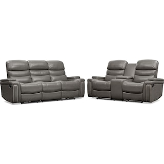 Jackson Manual Reclining Sofa and Loveseat Set - Gray