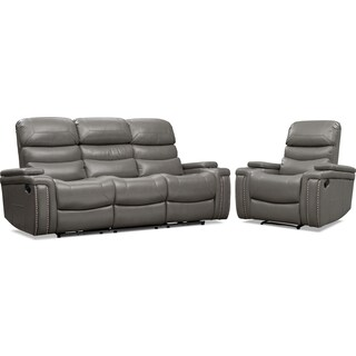 Jackson Manual Reclining Sofa and Recliner Set - Gray