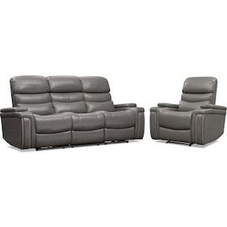 Jackson Triple-Power Reclining Sofa and Recliner Set - Gray