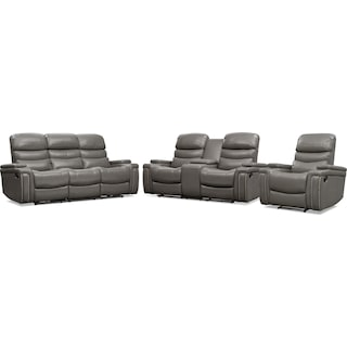 Jackson Manual Reclining Sofa, Loveseat, and Recliner - Gray