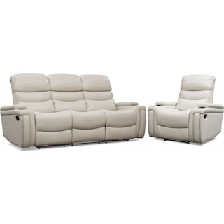 Jackson Manual Reclining Sofa and Recliner Set - Ivory