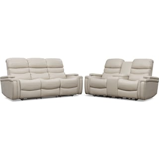 Jackson Triple-Power Reclining Sofa and Loveseat Set - Ivory