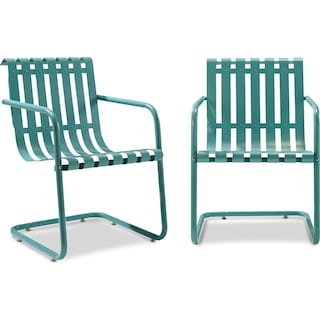 Janie Set of 2 Outdoor Chairs - Blue